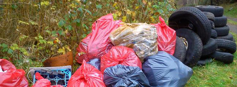 Fly tipping on the Brynberian Stream